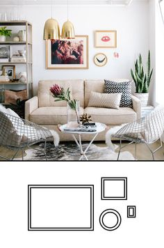 Sunday Gazette: 5 Simple Gallery Wall Templates: Simple Mix......Using different shapes adds more visual interest to your wall when you are only displaying a few frames. Try throwing a circular object in the mix to stir things up