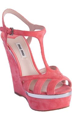 Cutout Front Pink Platform Wedge by Miu Miu