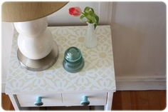 Nightstand with painted top. Might try this with desk for my craft room.
