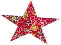 Mercerie | Produits CSM Coudes Thermocollants et pré perforés en forme d'étoile. fond rouge avec fleurs