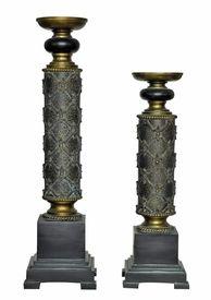 French Fleur De Lis Pillar Candle Holders, Set of 2