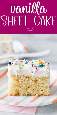 If you've been searching for the perfect, easy to make, but totally delicious homemade vanilla cake, this recipe is for you! Homemade Vanilla Cake, Easy Vanilla Cake Recipe, Homemade Cake Recipes, Easy White Cake Recipe 9x13, Sheet Cake Recipes, Cake Recipes From Scratch, Vanilla Sheet Cakes, Homemade Birthday Cakes, Classic Desserts