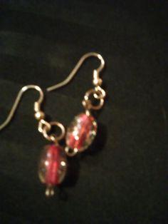 crackle Pink Drop Earrings by SheilasJewels on Etsy