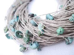 Turquoise Multi Strand Necklace Fiber Jewelry by DreamsFactory, $50.00