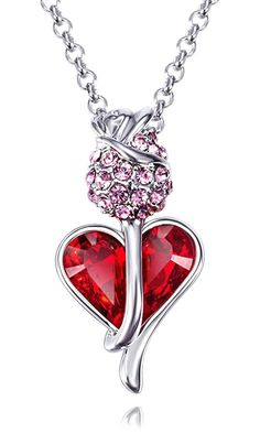 Fappac Rhodium Plated Red Crystals from Swarovski Heart and Tulip Flower Pendant Necklace, 15.5 2' Ext -- Unbelievable  item right here! : Jewelry Necklaces