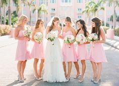 spring light pink bridesmaid dresses