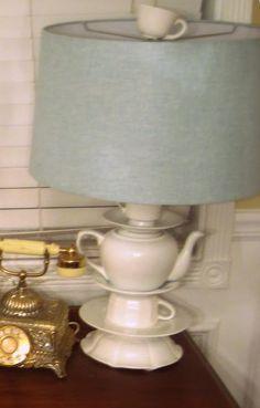 Teacup lamp DIY inspired by Anthropologie. Too cute