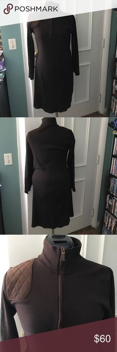 """Ralph Lauren dress Preppy and glam! Deep brown """"polo style"""" classic Ralph Lauren midi dress. Front zipper converts from hi Mark turtleneck to plunging the period quilted suede patch on shoulder for a pop of style! Perfect condition, zero flaws! 100% cotton pre shrunk. Ralph Lauren Dresses"""