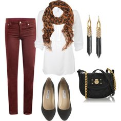 Burgundy pants + leopard scarf + white top + black accents // Polyvore
