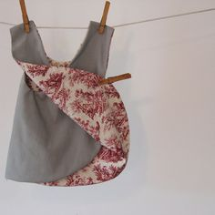 pinafore dress in grey and red toile