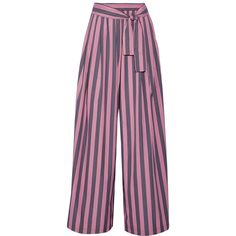 TOME Striped cotton-poplin wide-leg pants ($370) ❤ liked on Polyvore featuring pants, bottoms, trousers, pink, print pants, tome, pink wide leg trousers, pink pants and striped pants