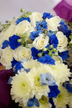Roses and Delphinium wedding flower bouquet, bridal bouquet, wedding flowers, add pic source on comment and we will update it. www.myfloweraffair.com can create this beautiful wedding flower look.