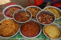 Myanmar is home to more than 40 types of curry, made with pork, fish, shrimp, beef or mutton. The Burmese often serve with rice, a tart salad, a small dish of fried vegetables, a small bowl of soup and a large tray of fresh vegetables and herbs. #curry #myanmarfood