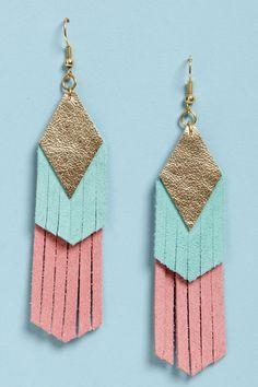 Claire Fong Earrings - Fringe Earrings - Leather Earrings