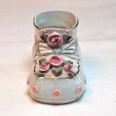 Napco Porcelain Baby Shoe Bootie w/ Pink Roses by TheArtPadStudio, $12.00