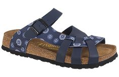 Pisa  Soft Footbed  Dandelion Blue/Blue Birko-Flor  Sale: $69   Reg. $99   Save 30%     The footbed of this unique style is layered with a dense foam to give you cushioned comfort all day. It is wonderful for sensitive feet. The curved strap and woven design hug your feet and the footbed supports your arches. Resoleable.