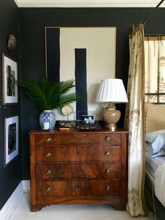 The gorgeous antique chest immediately caught my eye & then I was able to take in the rest of this tailored, refined room!William McLure www. Williammclure.com