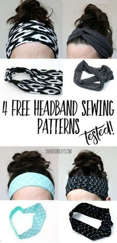 4 free headband sewing tutorials - all tested and compared!These are great knit fabric scrap busters and a fun, quick thing to sew for women. There is a pattern that uses FOE and woven fabric, and three different patterns that use knit fabric.
