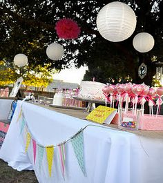 a princess-themed pink birthday party in an outdoor venue