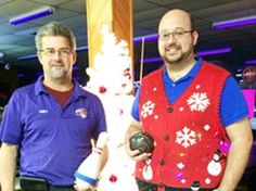 Ugly Sweater party helps Orillia food bank - Cosmic Bowling owner Andy Rainey is pictured with event organizer Derick Lehmann.