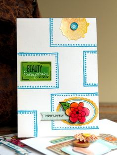 How Lovely - by Piradee Talvanna using American Crafts products, including Zing! embossing powder. #amytangerine #cardmaking #stamping
