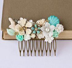 Bridal Hair Comb - Beach Wedding Hair Accessories, Beach Party Head Piece, Seaglass Mint Aqua Green, Cream White. $95.00, via Etsy.