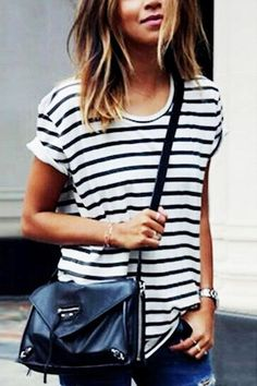 7c9b5821a0 Black And White Stripe Basic T-shirt Striped Top Outfit