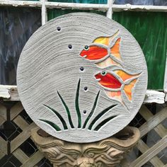 """BIG Stained Glass Stepping Stone Pretty Tropical Fish Goldfish Yard Art Garden Path Outdoor Decor 18"""" Stone Mosaic Ornament Pool Patio Pond by SteppingStoneYardArt on Etsy"""