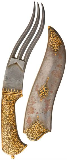 "Indo-persian dagger, damascus steel blade split into 3 diamond profile prongs, each following an yataghan-style curve, with points. An inlaid gold border is present at the base of the blade, with the grip virtually covered in gold floral designs, with an unknown symbol in the center of each side and a flared pommel with gold nut. Felt lined metal sheath, with a symbol on the left side and gold floral designs at the throat, tip and along the rear edge. 10 3/4""."