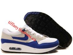 finest selection af9cf bee33 Mens Nike Air Max 1 White Varsity Blue Neutral Grey Black Shoes Cute Nikes,  Air