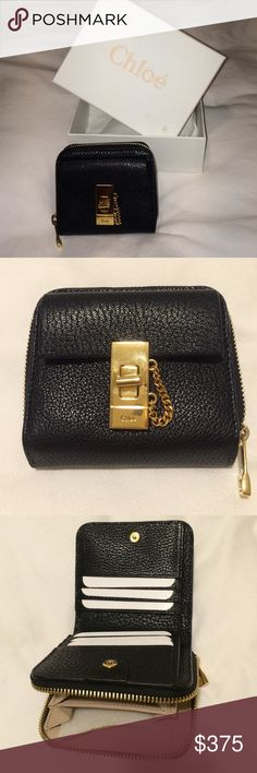 "Chloe ""Drew"" Black Zip Wallet Black Mini Calf Skin Leather Wallet with gold hardware. Includes tag and box. *Authentic Chloe Bags Wallets"