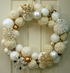 2015 Christmas yarn wrapped ball wreath with silver and golden glitter snowflakes, jingle bells - Christmas ornament, home decor - 2015 Christmas ball wreath decor ideas that you will need ! by leighmason Christmas Yarn, Christmas Bells, Christmas Ornaments, White Christmas, Ornaments Ideas, Christmas Fashion, Christmas Tree, Diy Wreath, Ornament Wreath