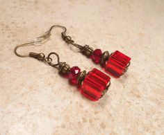Bright Red Earrings Antiqued Bronze Glass by SharkysWaters on Etsy