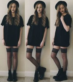 awesome All black paired with wine colored lips = great look for All Hallow's eve!...