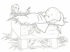 Baby Jesus in a Manger/Coloring page