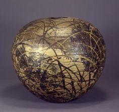 KIYOMIZU, Rokubei VI (1901 - 1980) Vase, autumn grass design, 1970