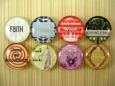 Young Women Values Glass Tile Magnets set of 8 by WordyWisdom
