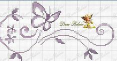 Lindo gráfico de ponto cruz feito pela Dani Ribeiro. Ótimo para bordar toalhas para casais mudando apenas a cor da borboleta...Lindo... ...
