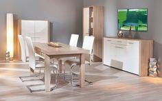 Buffet design en bois de chêne clair/blanc laqué Amandine