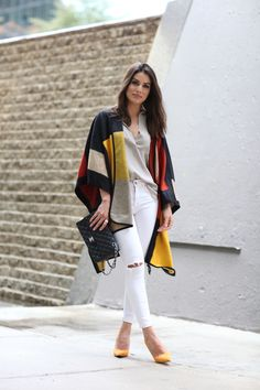 poncho outfit winter white multi color
