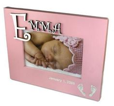 3D Monogram Baby Photo Frames in Pink