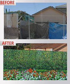 View before and after images of our customized fence fabric covers. We have a range of solid colors or printed designs available. Call 866-478-5312 to order.