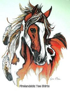 American Indian Horse Paint Pinto TShirt New by firelandsteeshirts, $13.99