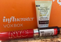 #FrescaVoxBox from @Influenster   #Neutrogena #NYC   NYC Rockaway Ruby Expert Last Lip Lacquer, Neutrogena Healthy Skin Facial Cleanser