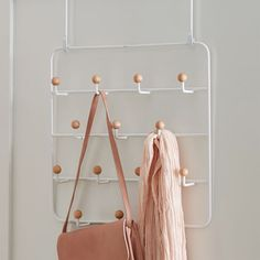 College dorm room furnishings - Umbra over-the-door hook organizer for jackets, bags, scarves, and purses from PB Teen. Over The Door Organizer, Over The Door Hooks, Pottery Barn, Futons, Closet Interior, Dorm Room Closet, Dorm Furniture, Furniture Design, Dorm Room Designs