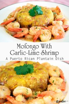 Shrimp Mofongo – Garlic Lime (Puerto Rican Plantain Dish) – The Kreative Life Mofongo with shrimp is a traditional Puerto Rican dish made of plantains. – The Kreative Life Puerto Rican Dishes, Puerto Rican Cuisine, Puerto Rican Recipes, Seafood Recipes, Mexican Food Recipes, Cooking Recipes, Healthy Recipes, Ethnic Recipes, Dominican Recipes
