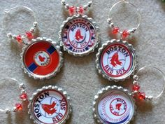 Great Sports Team Christmas Gifts, Boston Red Sox or any sports team, Glass Charms and party favors, wine charms, beer charms and more