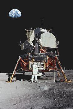 Buzz Aldrin and Apollo 11 Lunar Module Eagle. Apollo Moon Missions, Apollo 11 Moon Landing, Nasa Space Pictures, Space Photos, Moon Landing Pictures, Moon Photos, Space Planets, Space And Astronomy, Nasa Planets