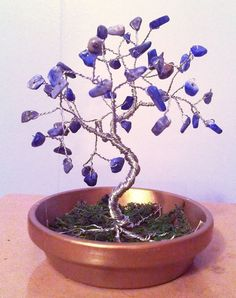 Golden Blue TINY Wire GEM TREE Lapis Lazuli by spiritgemdesigns, $18.95