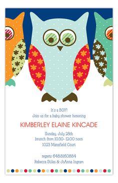 Navy Pattern Owls Invitation